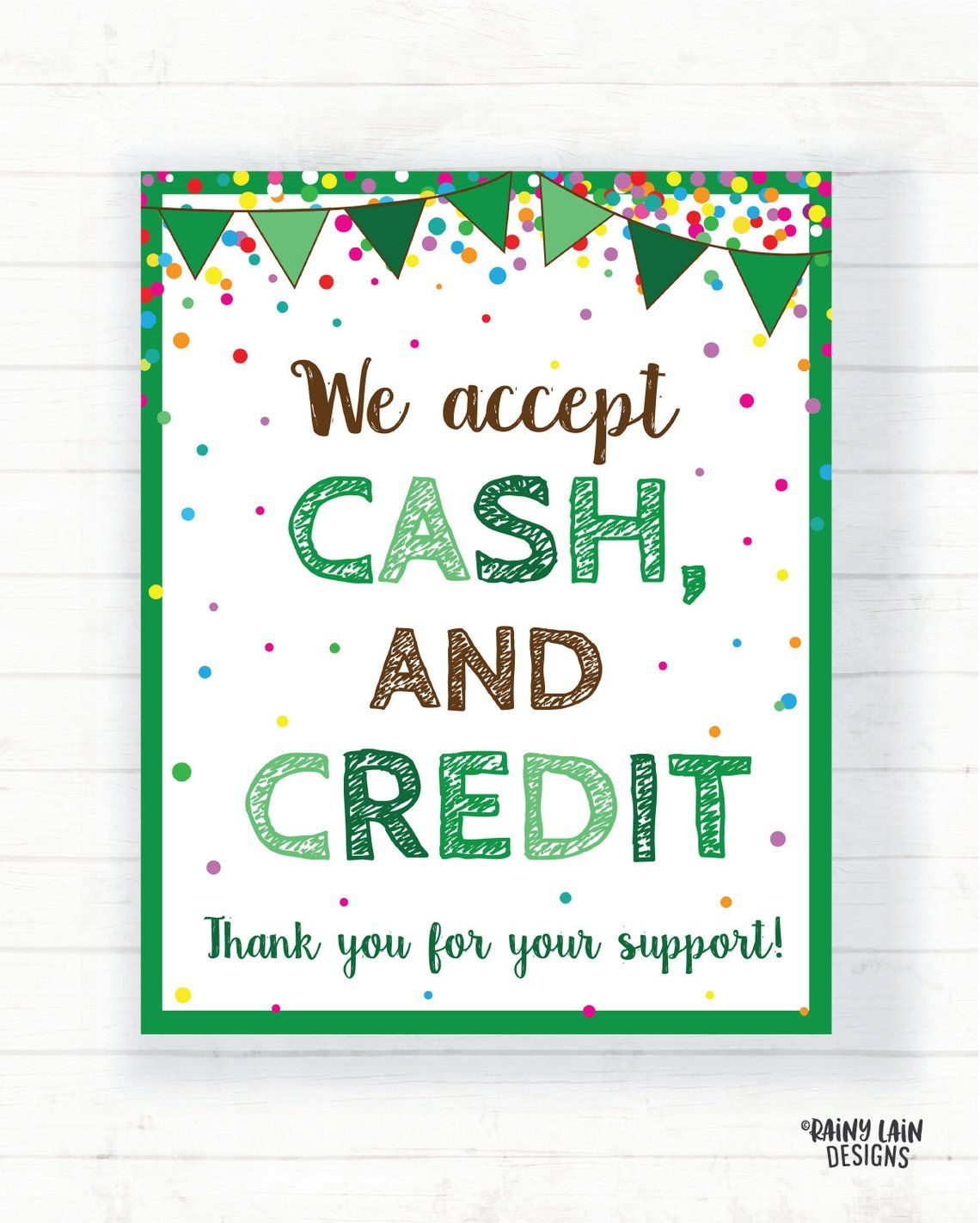 We Accept Cash And Credit Cards Sign Cookie Booth