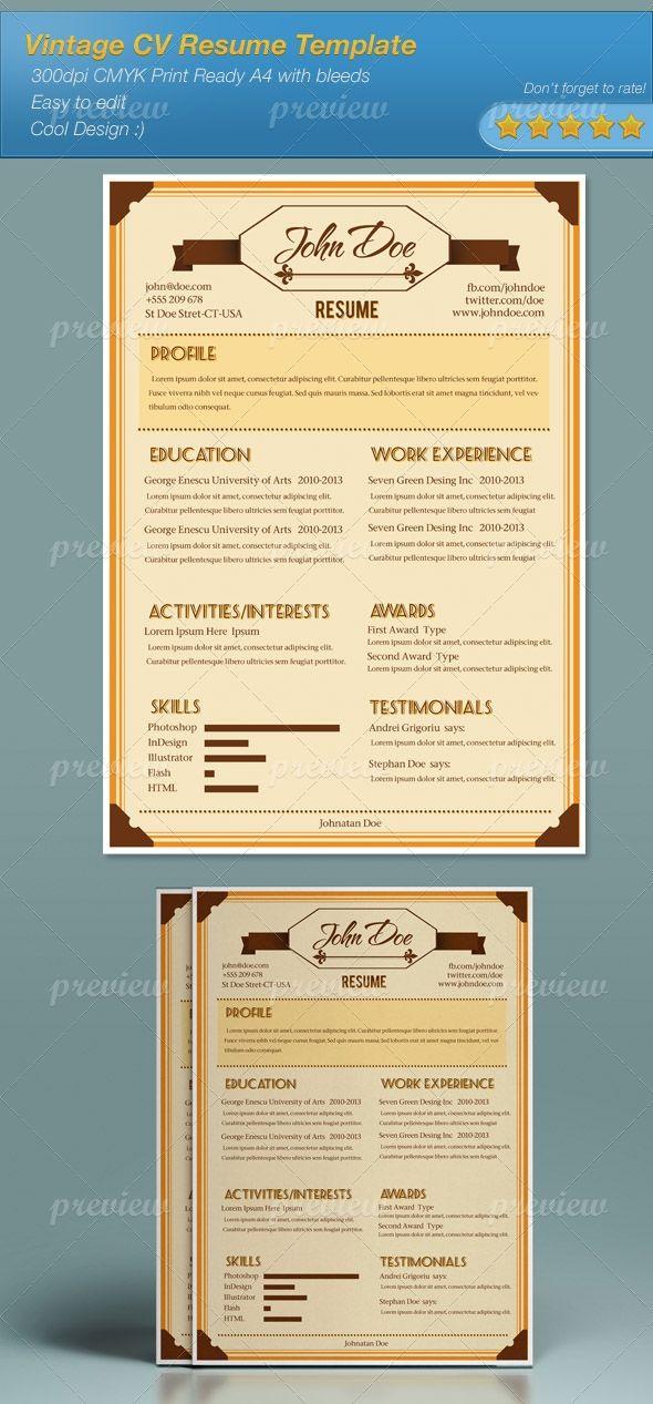 Vintage Cv Resume Template Cv Resume Template Resume Template Resume