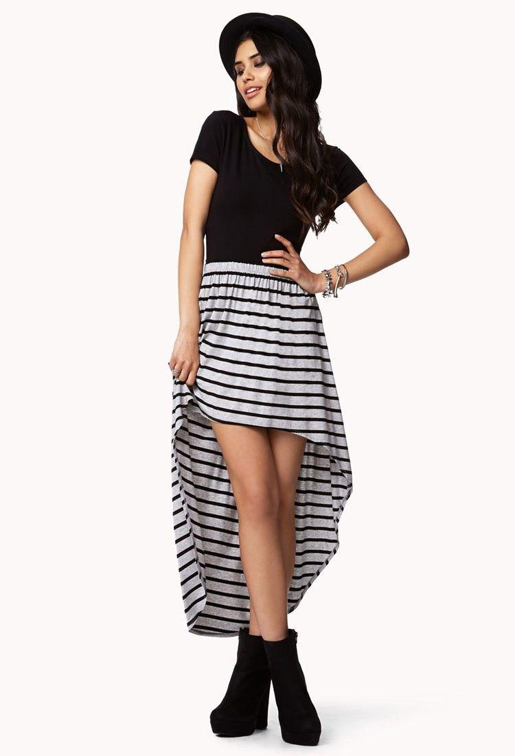 cbe527b88 Falda Forever 21 Cola de Pato Stripes | Oufits | Vestido cola de ...