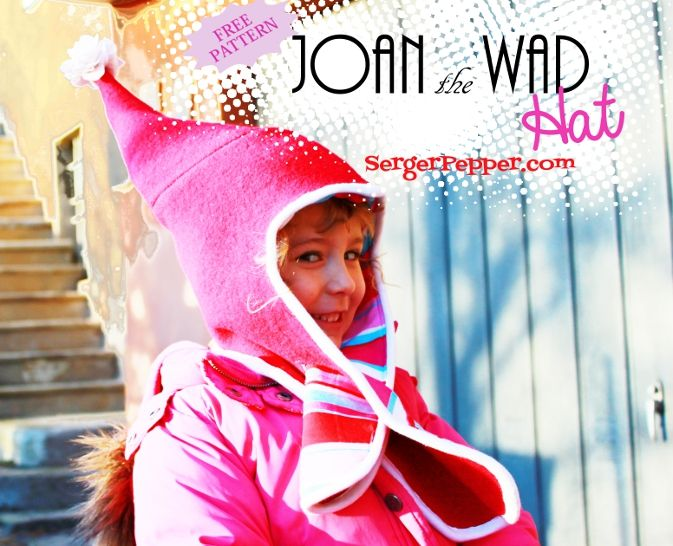 "Joan the Wad Hat: exclusive FREE pattern in 4 sizes, from 4-5 years old to adult. A fully lined boiled wool pointy hat, with a built-in scarf, edged with a white tank's refashioned ""bias""... only on SergerPepper.com"