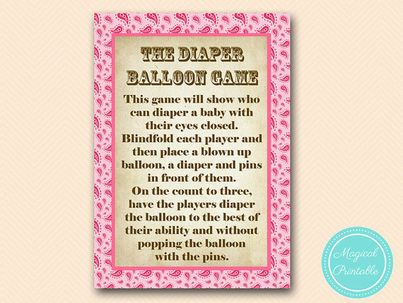 Diaper Balloon Game Coed Baby Shower Game Girl By MagicalPrintable