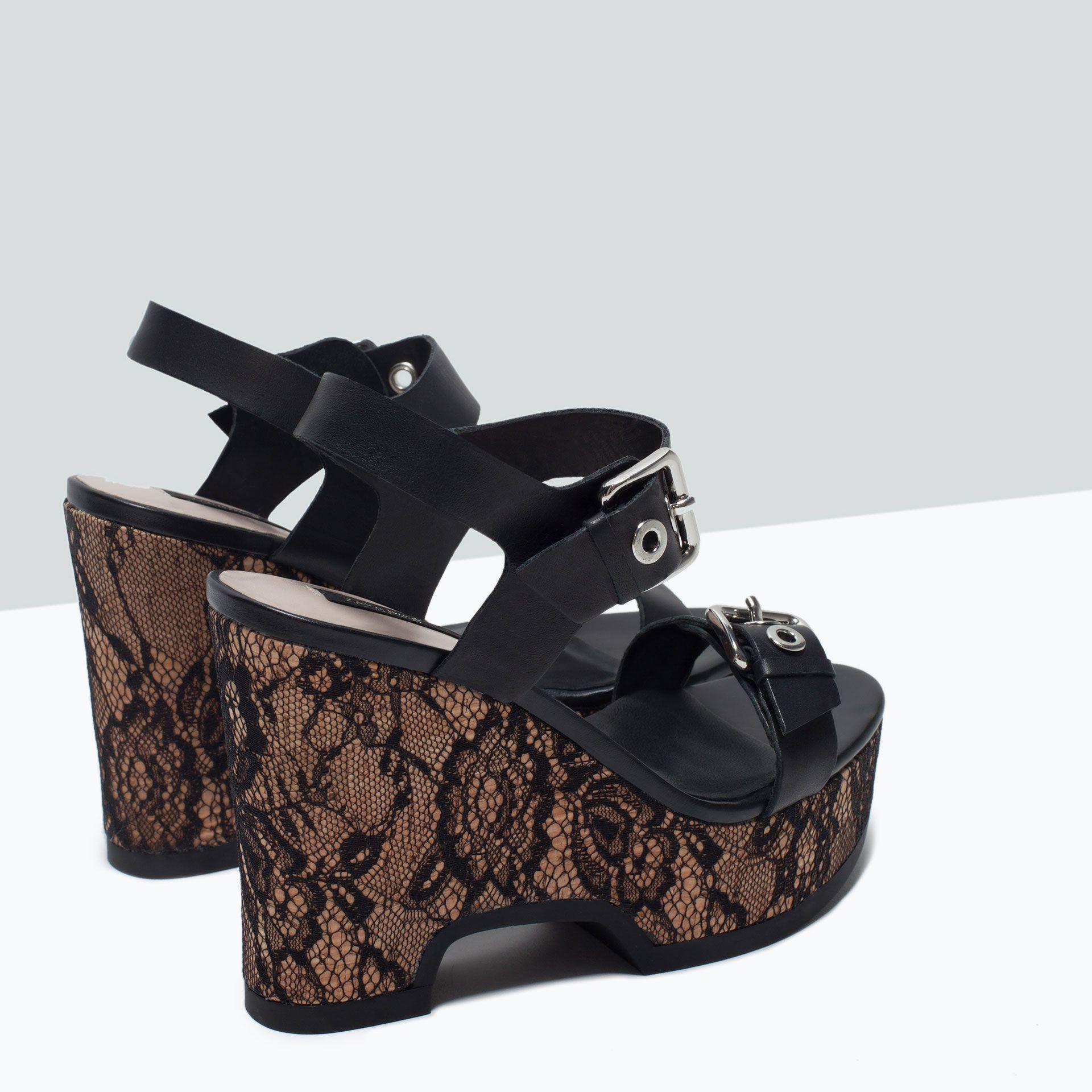 6daa13b436e Sandales compensées en cuir et dentelle - Tout voir - Chaussures - FEMME