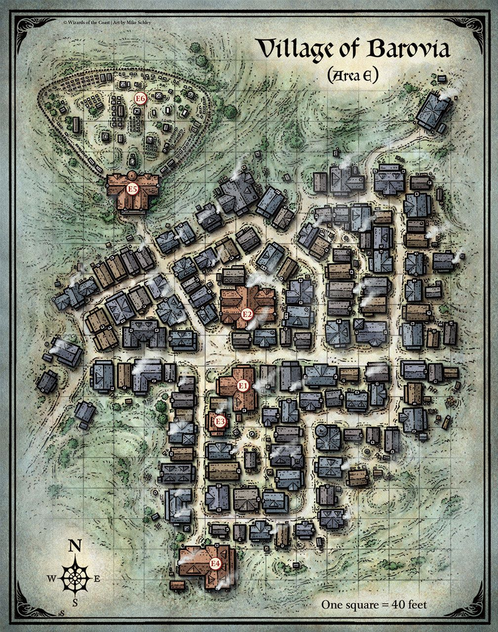 D&D Village Of Barovia Map Mike Schley Town City Map Cartography