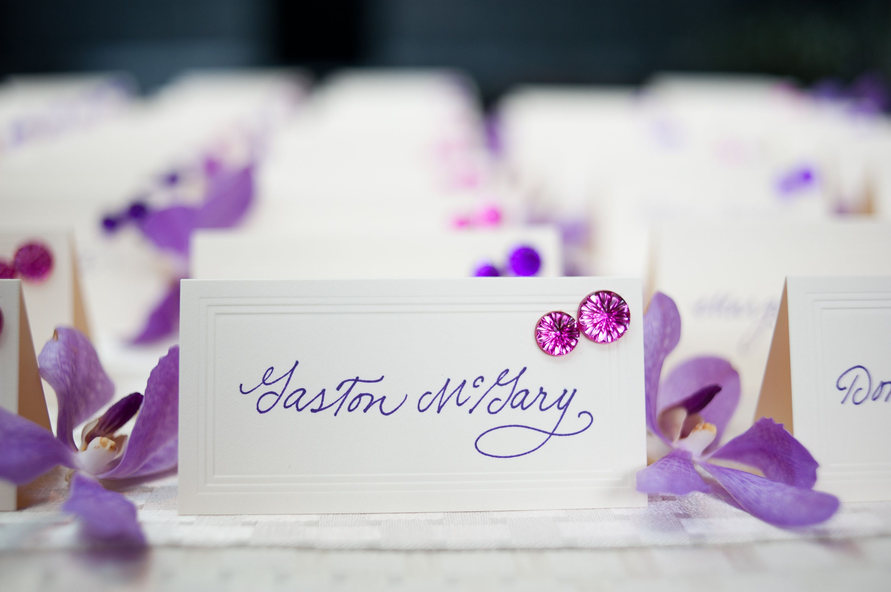 Escort Cards (table assignment written inside the tented card ...