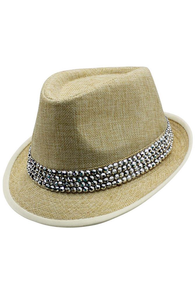 604c65b08 This basic straw colored fedora hat goes one step further with its ...