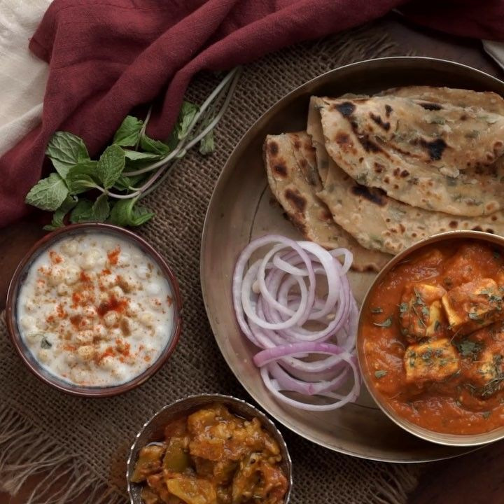 what more can one ask for than a fancy vegetarian meal of achari paneer served with pudina on hebbar s kitchen recipes laccha paratha id=60184