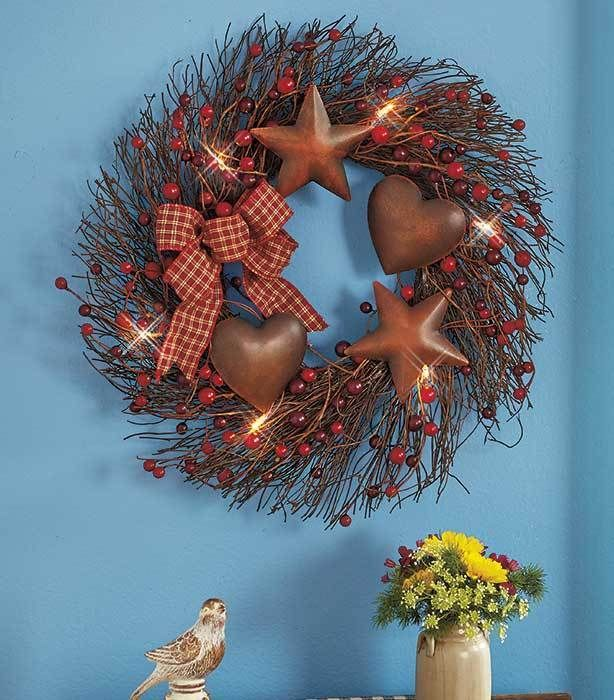 Lighted Wreath Country Star Heart Primitive Rustic Door Gingham Bow Home Decor Unbranded