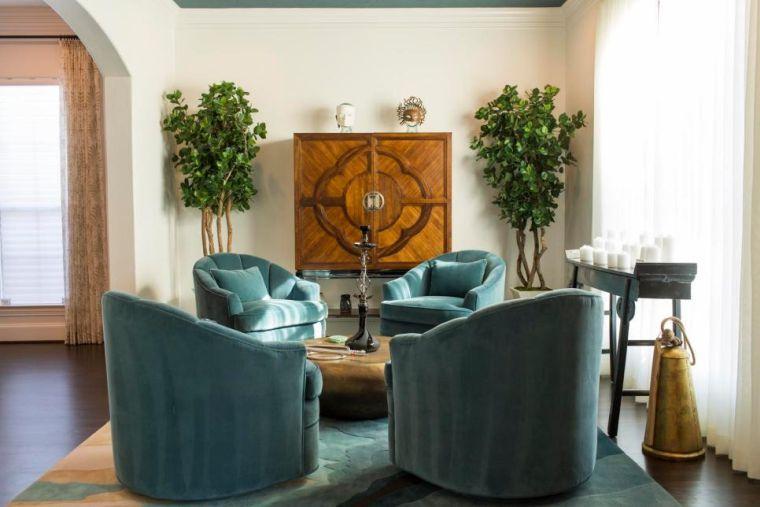 Déco salon bleu canard  peinture, mobilier et accessoires