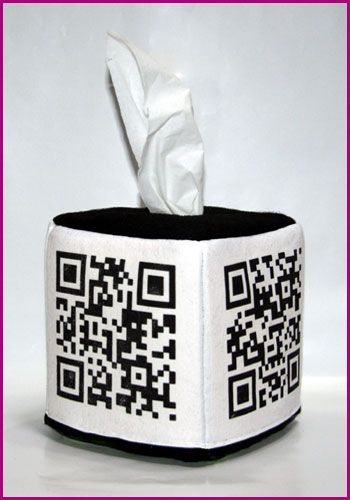 Working QR Code tissue box cover. Grandma won't know what it is but she'll like it all the same.