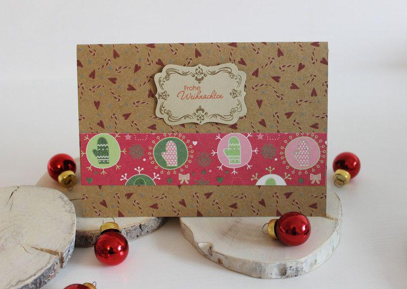 Karte zu Weihnachten mit hübschen Applikationen und einem passendem Umschlag.  Hergestellt mit Liebe und Stampin up Produkten. Die Karte hat die Standart Größe von 14,5cm x 10,5cm.  Verwendete Materialien: Pappe, Stempel, Stempelkissen, Stanzer, Kleber, Stampin`Dimensionals