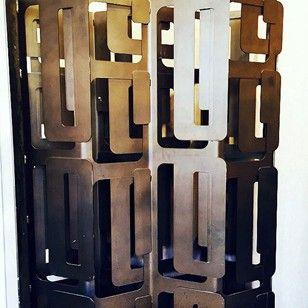 Pair of Bronzed Steel Screens/Room Dividers