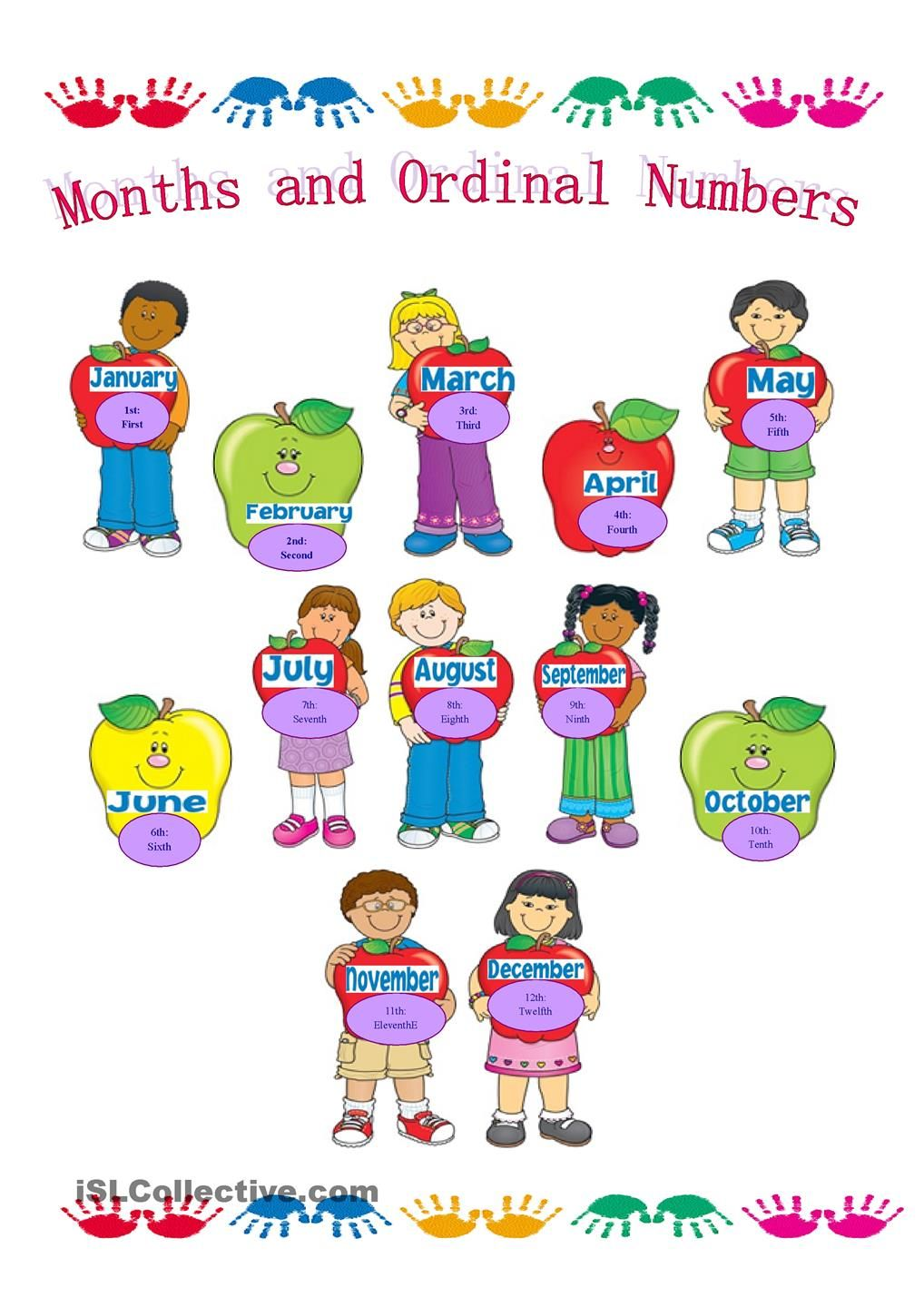 Months of the Year and Ordinal Numbers | Basic level | Pinterest