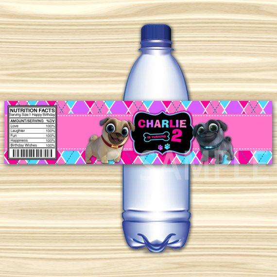 Puppy Dog Pals Bottle Label. Puppy Dog Pals Water Label