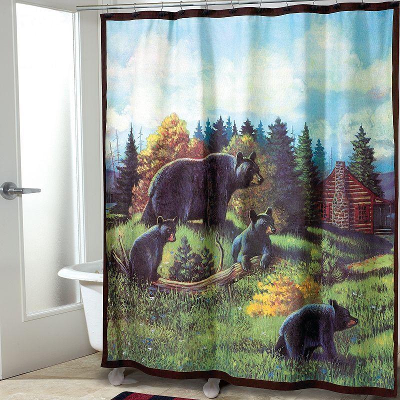 Avanti Black Bear Lodge Fabric Shower Curtain Black Bear Lodge