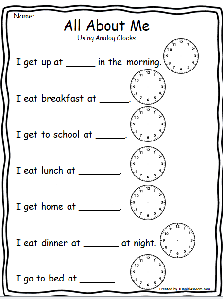 All About Me Important Time During My Day All About Me Worksheet English Lessons For Kids English Worksheets For Kids