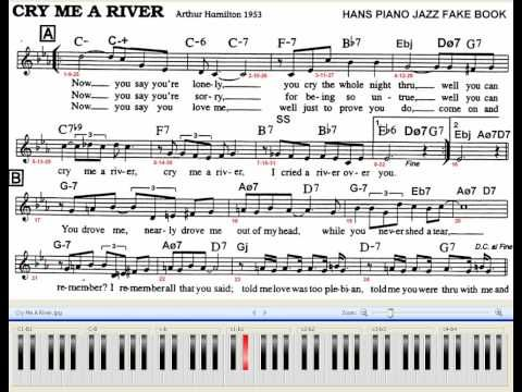 Cry Me A River Piano Jazz 70 BPM With Chords and Melody Sheet ...