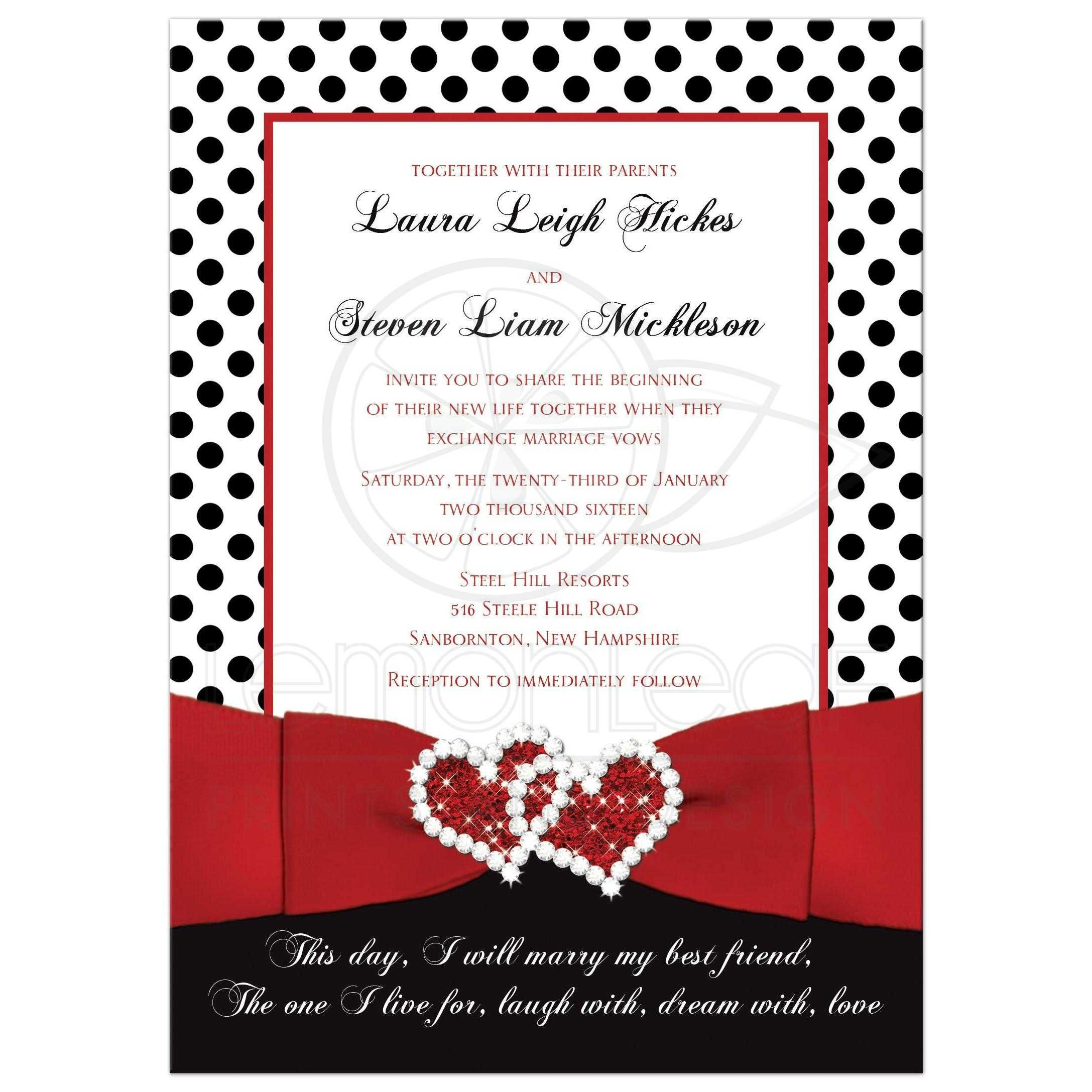 Wedding Invitation | Black, White Red | Polka Dots | Printed Ribbon ...