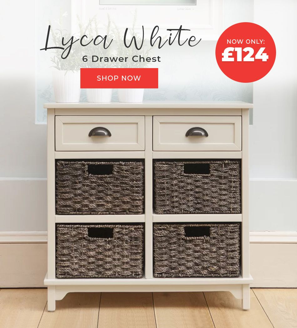 Clearance Furniture Line Lyca White 6 Drawer Chest Fduk Best Price