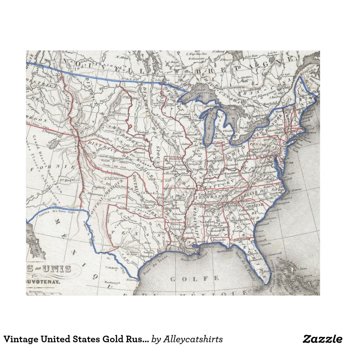 Vintage United States Gold Rush Regions Map Fleece