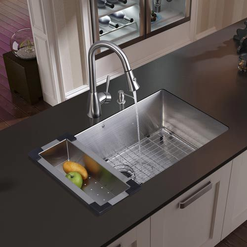 Undermount Stainless Steel Kitchen Sink Faucet Colander Grid Strainer And Dispenser Farmhouse Sink Kitchen Stainless Steel Kitchen Sink Kitchen Sink Design