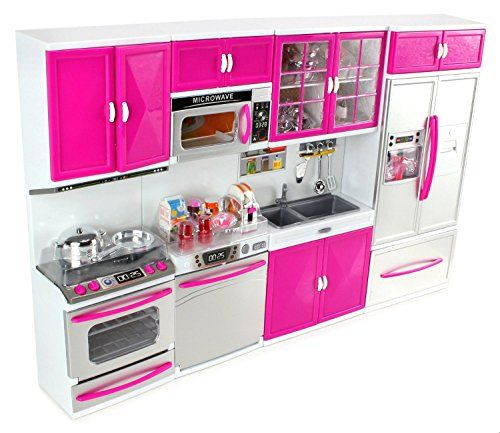 Doll Playsets My Modern Kitchen 32 Full Deluxe Kit With Lights And Sounds 21 X 13 8 X 4 Inches Battery Operated Toys Barbie Kitchen Play Kitchen
