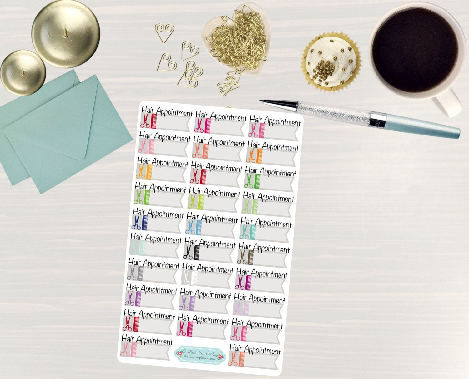 Available at CraftedByCorley on Etsy: Hair Appointment Colorful Stickers - Planner Stickers - Erin Condren Happy Planner Plum Paper