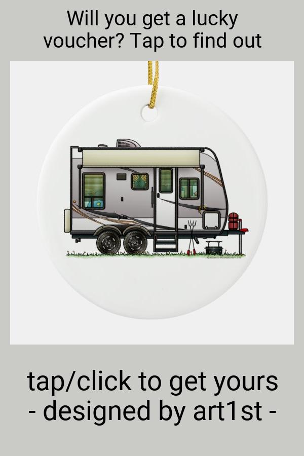 Jayco Trailer RV happy camper Ceramic Ornament - tap/click to personalize and buy #CeramicOrnament #ad #happy #camper #vintage #travel