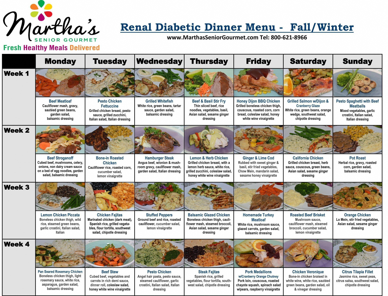 Renal/Diabetic Healthy Meal Delivery, Diabetic Meals