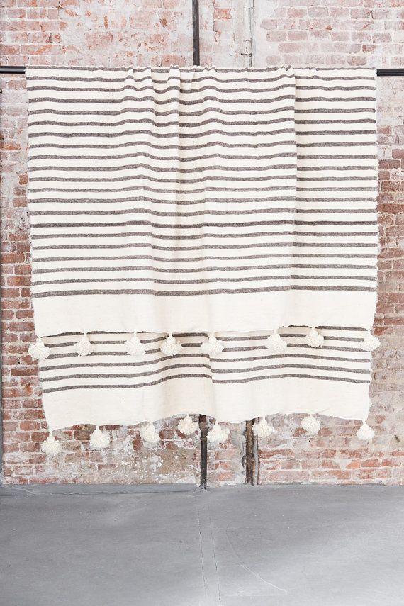 Wool Moroccan pom pom blanket handwoven XL