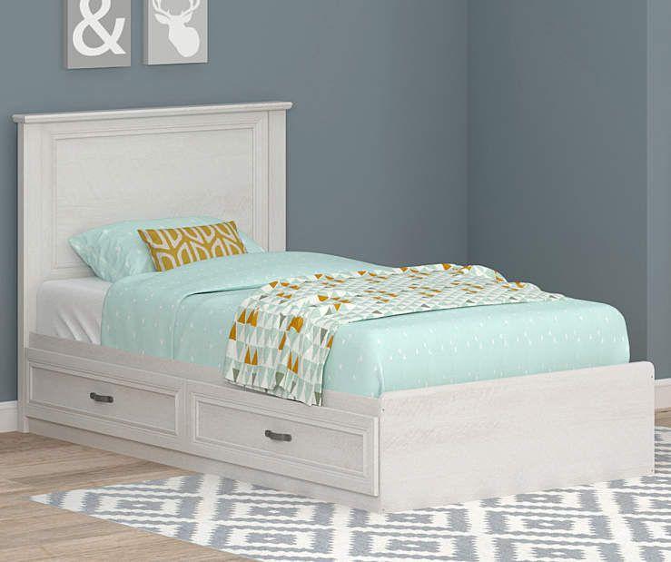 Ameriwood Magnolia Oak White Twin Mates Storage Bed Storage Bed