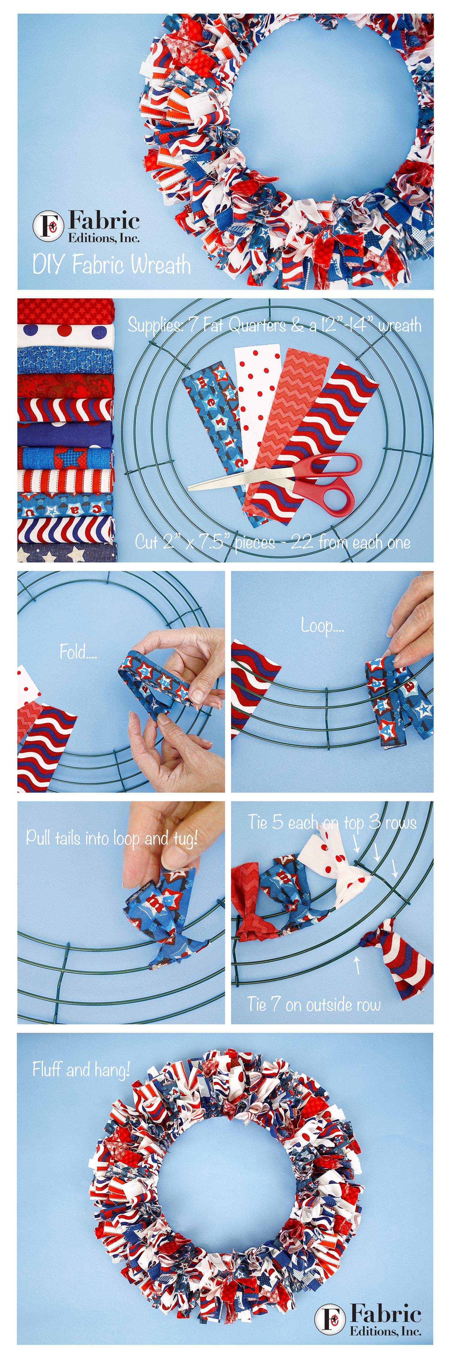 DIY Fabric Wreath step by step! Find your favorite Fabric Palette ...