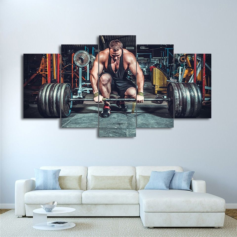 5 Pieces Weightlifting Fitness Equipment Painting Gym Room Canvas In