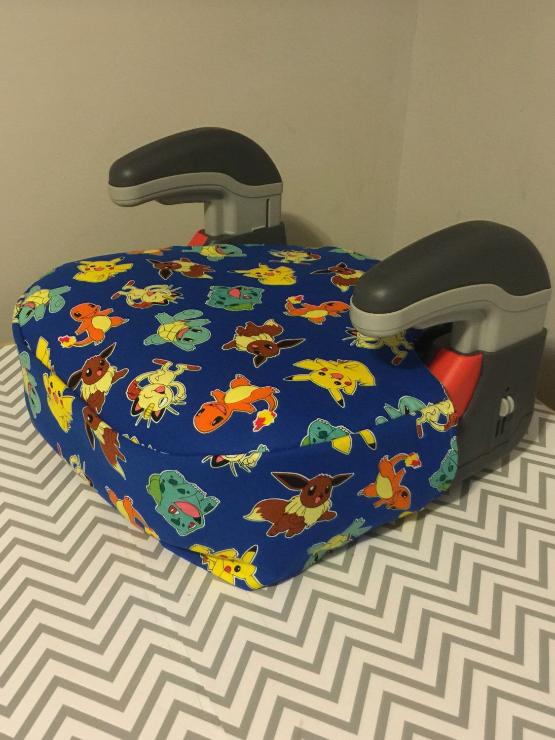 I Caught Pikachu Booster Car Seat Cover POKEMON Fabric READY To SHIP