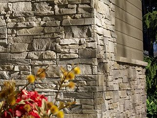 Canyon style veneer by Be On Stone, shown in Carbo Grey. Product can be found at Adams Landscape Supply in Kitchener Ontario