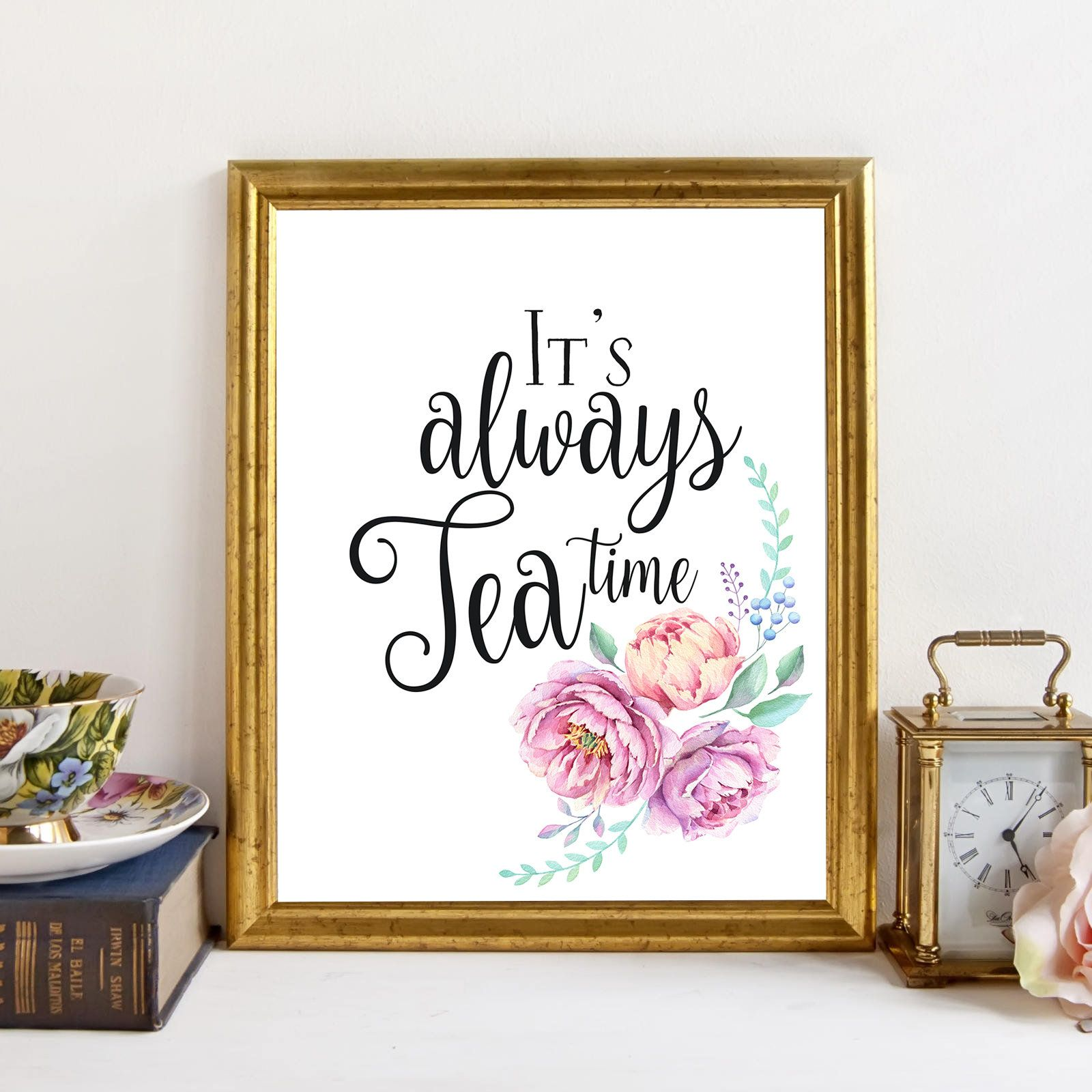 Its always tea timeteapot floral art printkitchen decorkitchen