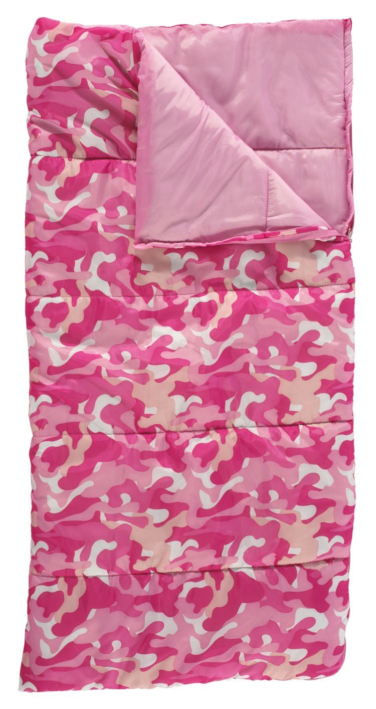 Bass Pro S Kids Camo Camping Sleeping Bag Pink Your Little Camper Will Love Using This On Warm Weather Trips