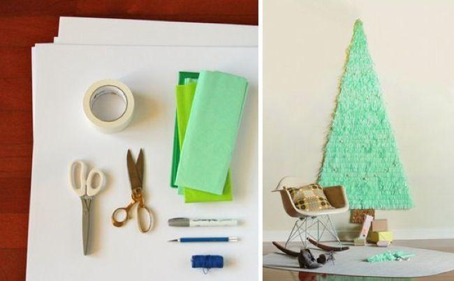 un rbol de navidad de papel de seda diy