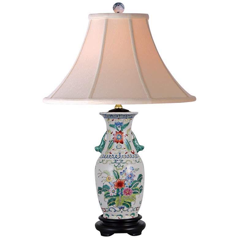 Floral Colors 22 High Hand Painted Porcelain Table Lamp N1968 Lamps Plus Vase Table Lamp Lamp Jar Table Lamp