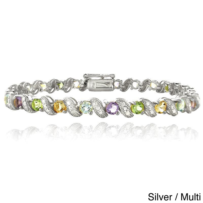 Glitzy Rocks Brass Gemstone and Diamond Accent San Marco Bracelet (