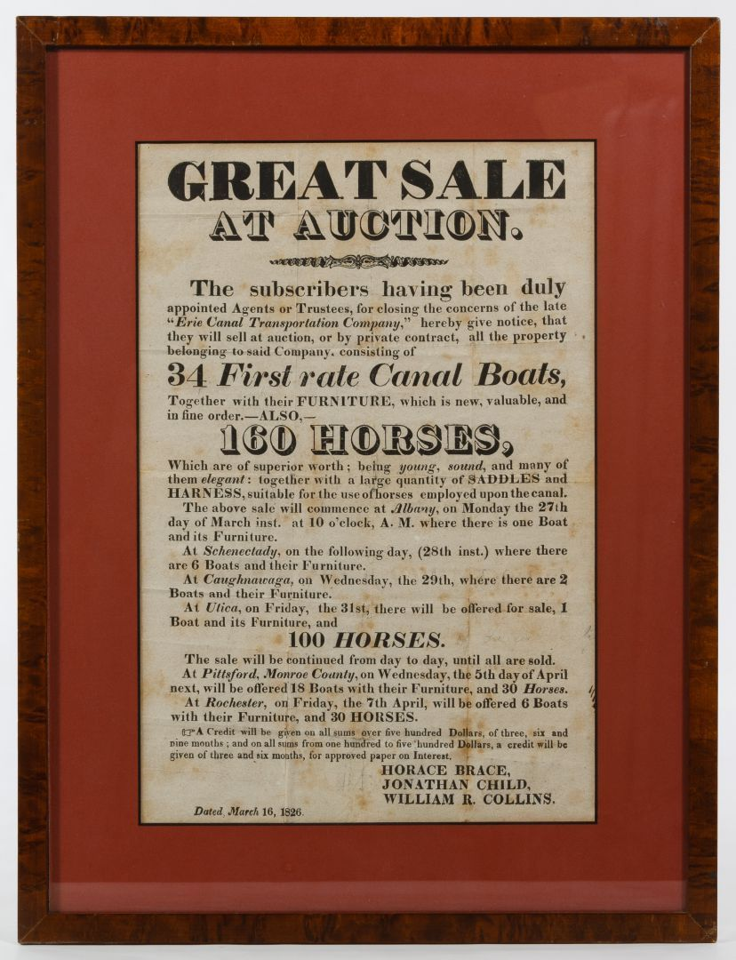 Lot 779: 1826 Erie Canal Boat and Horse Auction Broadside