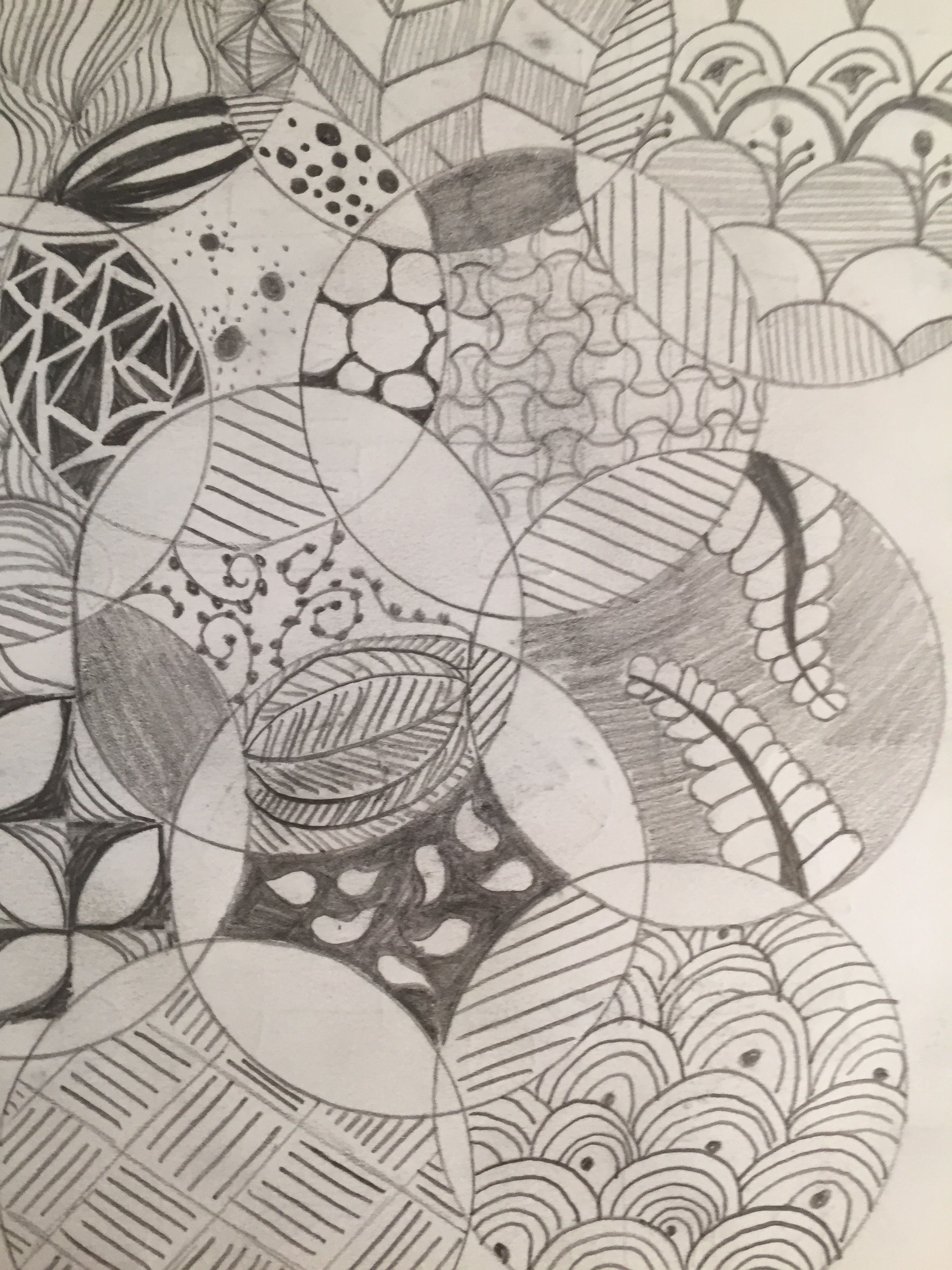 To start this, I drew many overlapping circles and started drawing Zentangle patterns within each section of the circles.