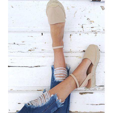374ee282b0c FIESTA Women s Espadrilles Ankle Strap Braided Platform Cap Toe Sandals  Nude Image 2 ...