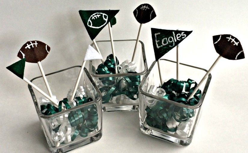 Football party decorations, centerpieces
