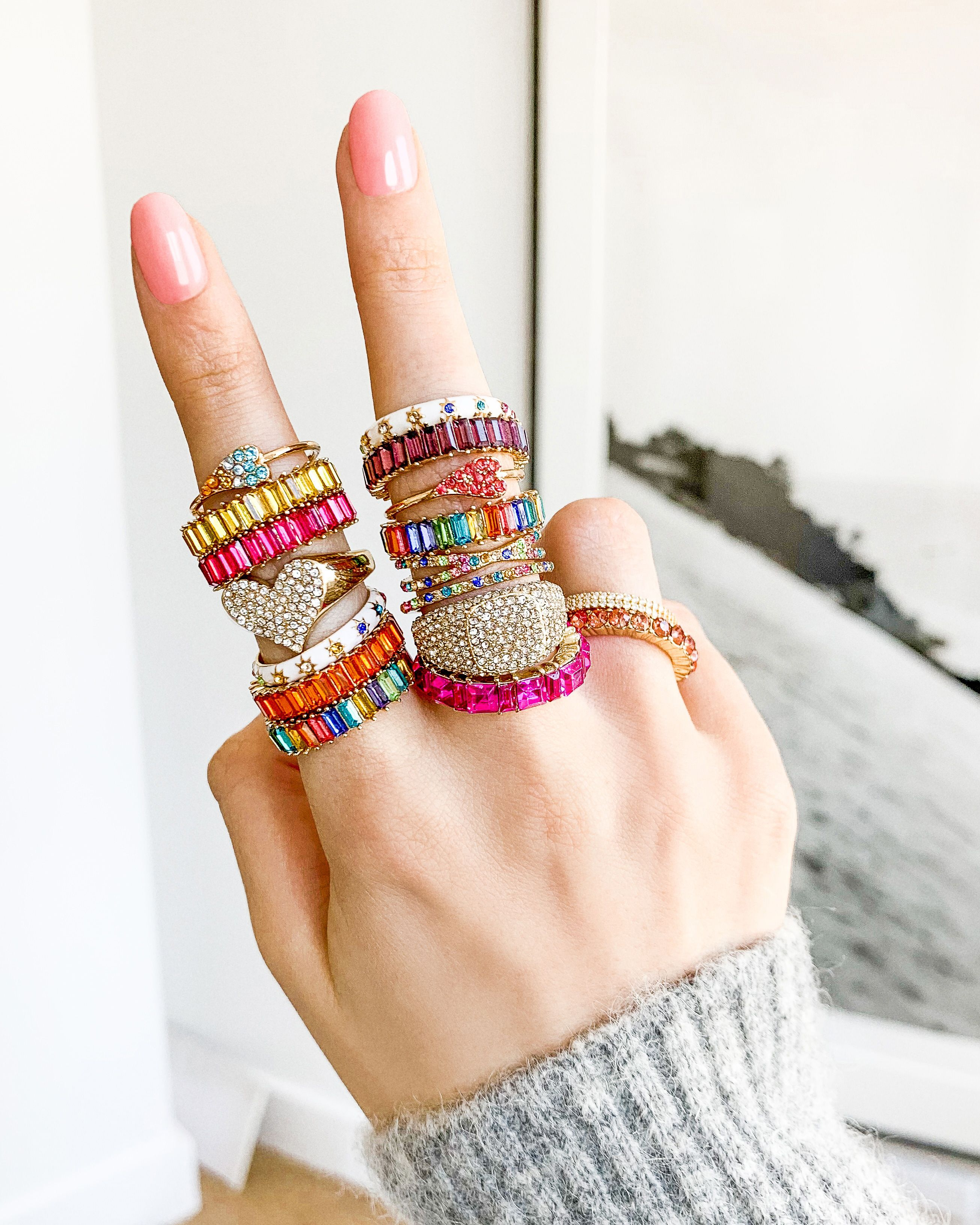 Rainbow rings. Gem rings. Create your own stacked look