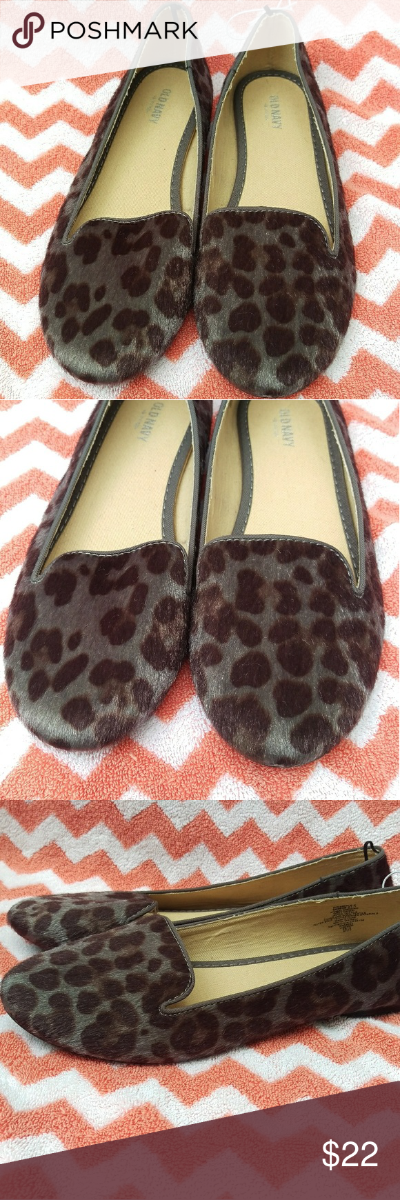 554f99d82d1 😸😸FUZZY Leopard Animal Print Smoking Flats Gray NWT