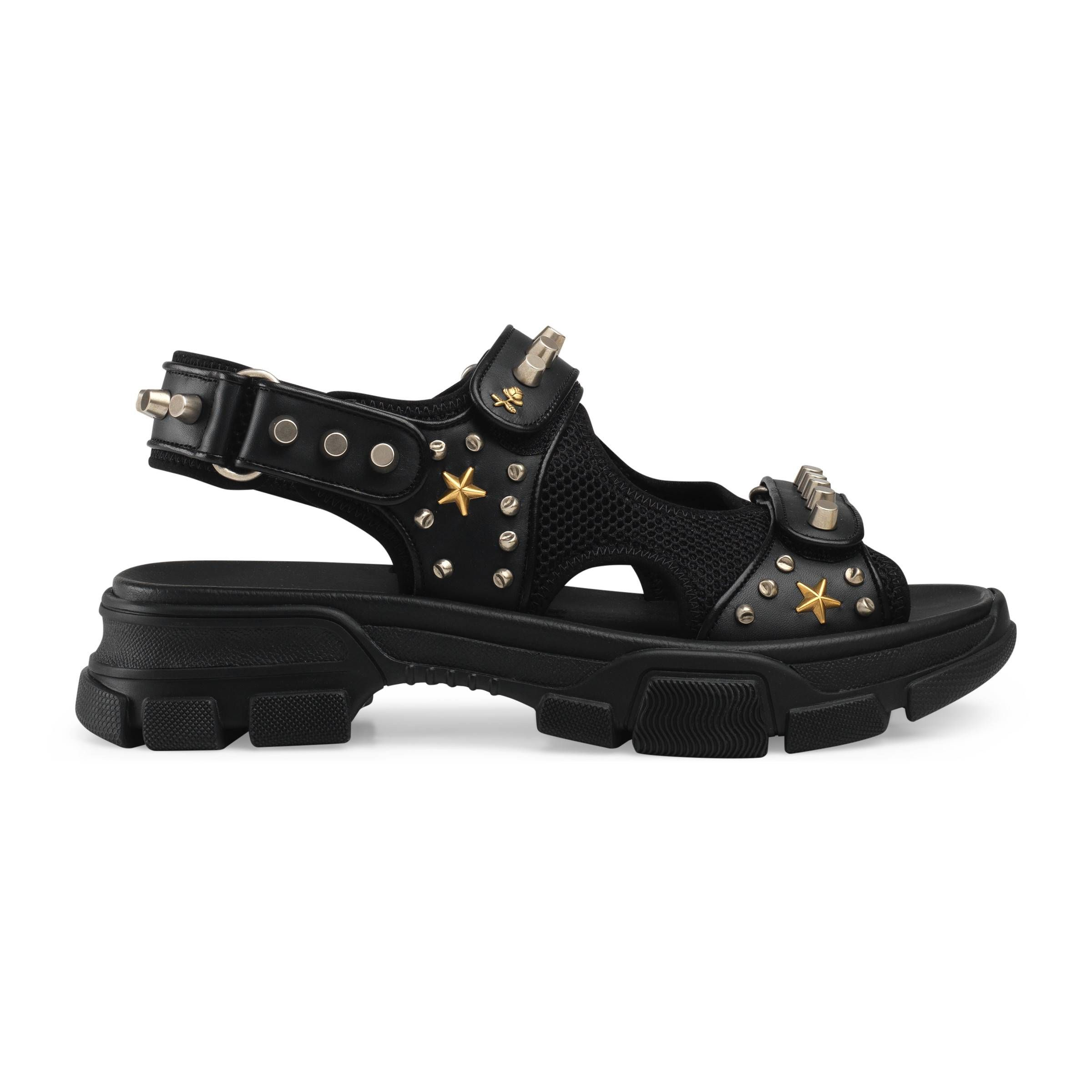 Leather And Mesh Sandal With Studs In Black Gucci Men Shoes Gucci Leather Studded Sandals