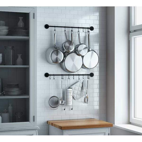 Cucina Rail Wall Mounted Pot Rack In 2020 Small Kitchen Hacks Kitchen Rails Utensil Organization