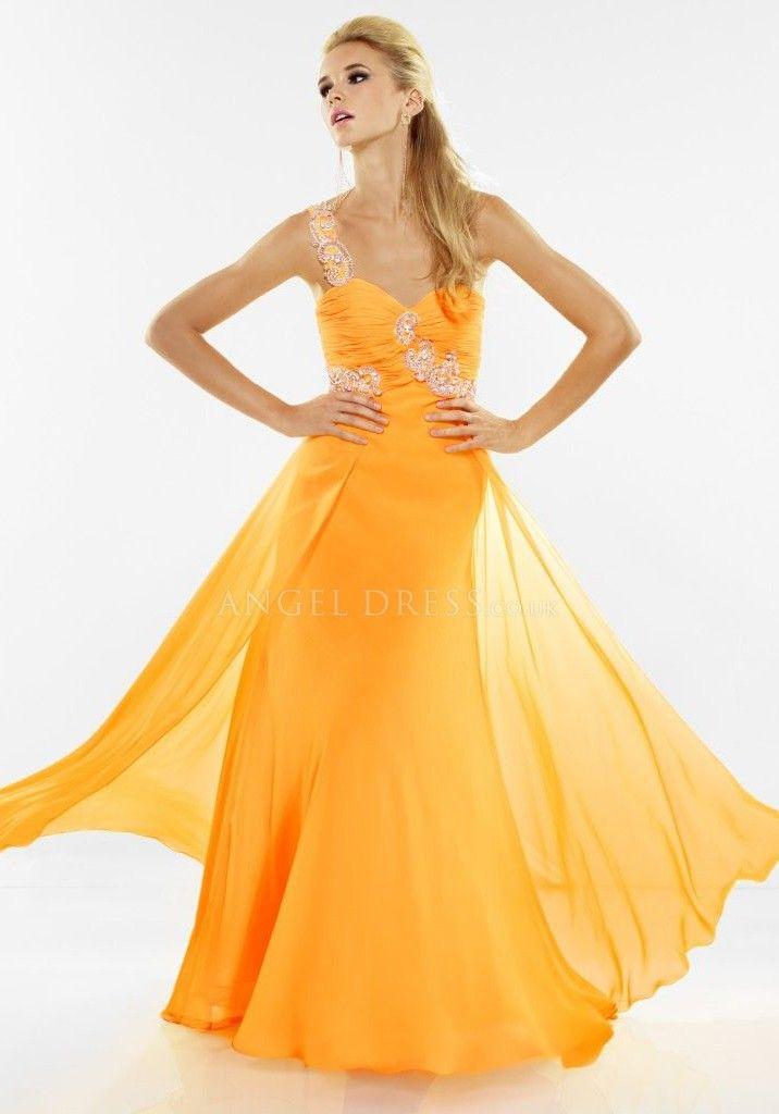 empire one shoulder floor length prom dress