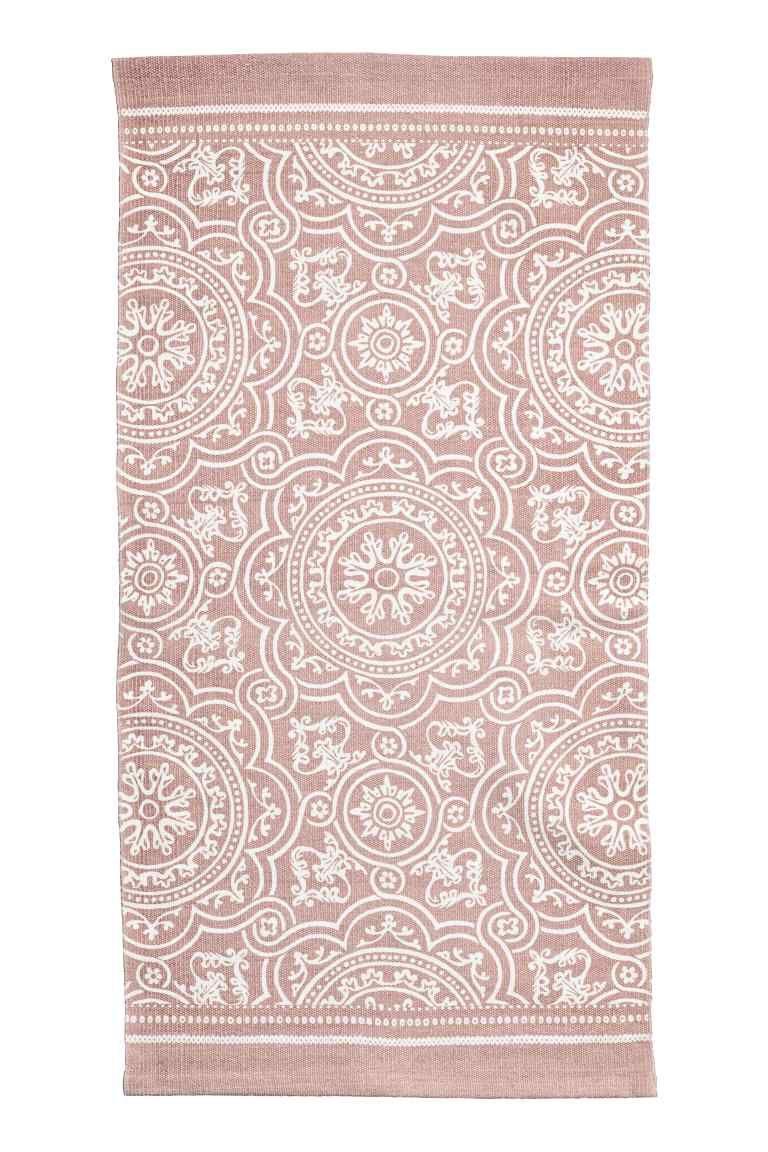 Patterned Cotton Rug Dusky Pink Home All H M Ca Machine Washable Rugs Cotton Rug Washable Rugs