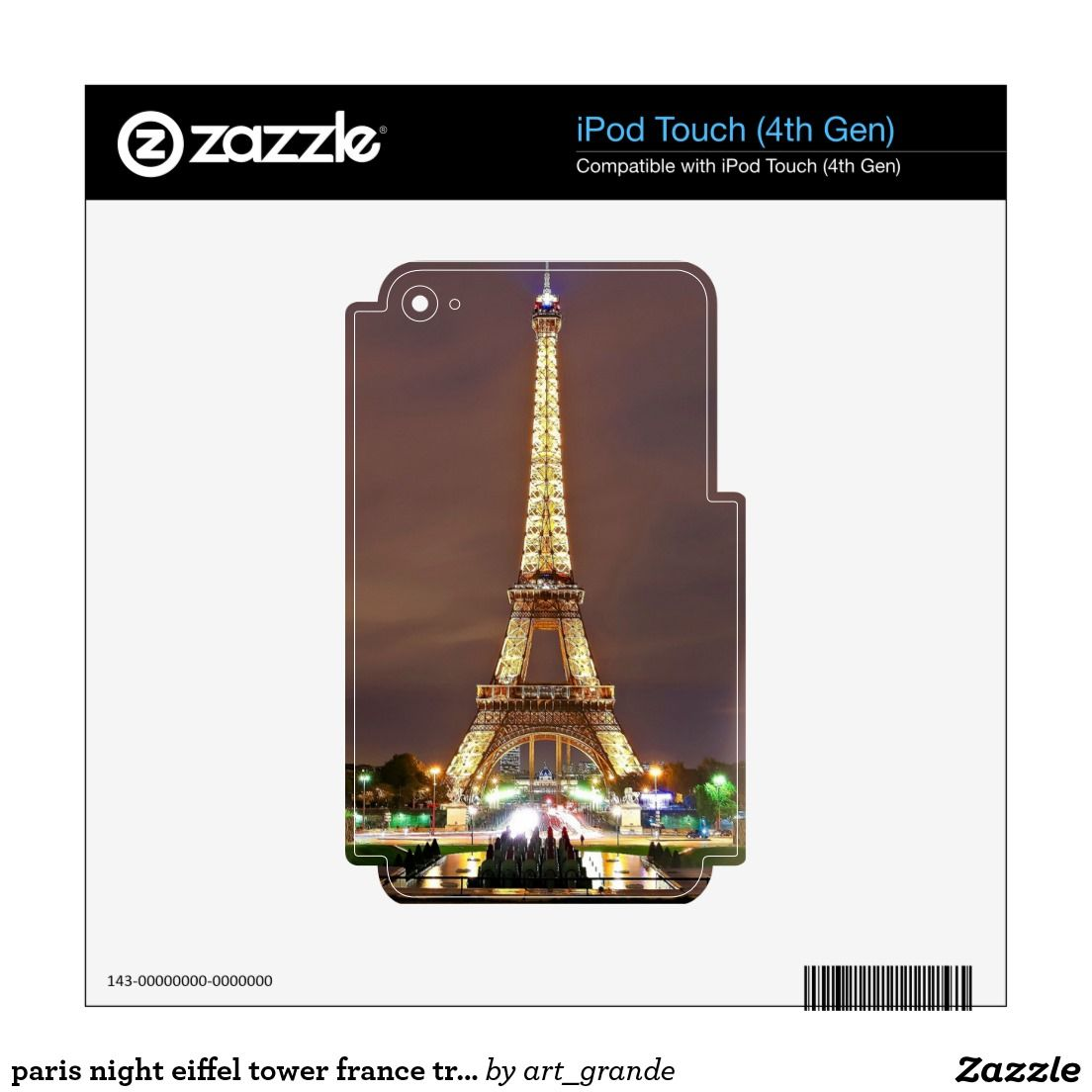 paris night eiffel tower france travel skins for iPod touch 4G